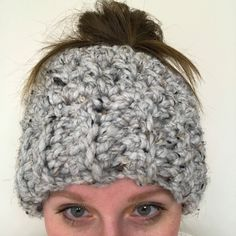 Messy bun hat, bun beanie, ponytail hat, mom life beanie, teen gorl hat, runner hat, headband, earwarmer, mom bun, crochet beanie by mandag433 on Etsy