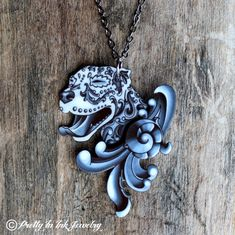 Ornamental Pit Bull in Black and Grey Filigree Necklace with 10 Percent to Pit Bull Rescue of the Month
