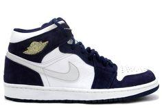 Air Jordan 1 Phat Retro (White Silver Navy) Shoes