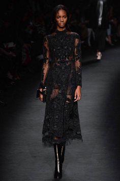 Valentino fall 2015 black lace dress, fashion, style, runway details, models, inspiration