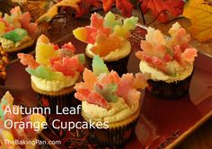 These delightful cupcakes and Buttercream are tinged with a lovely orange flavor and decorated with bursts of autumn color with gumdrop leaves. Fun Cupcakes, Autumn Cupcakes, Thanksgiving Cupcakes, Thanksgiving Ideas, Pastry Board, Thing 1, Gum Drops, Shaped Cookie, Leaf Shapes