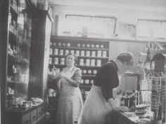 Pharmacy Greidanus, Harderwijk, The Metherlands, ca. 1950. The ladies are Katrien v.d. Weert and Jans Vrijhof