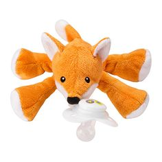 Lightweight plush pacifier animals attach to brand name infant pacifiers such as MAM, Avent, Nuk, Soothie, and more! Paci-Plushies Pacifier Holders grow with your baby with the addition of our Nookums Chillies Icey Packs and Teethers. Third Baby, First Baby, Freckled Fox, Fox Nursery, Fox Themed Nursery, White Nursery, Nursery Design, Baby Kicking, Pacifier Holder