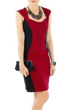 Vestido ampulheta vermelho e preto