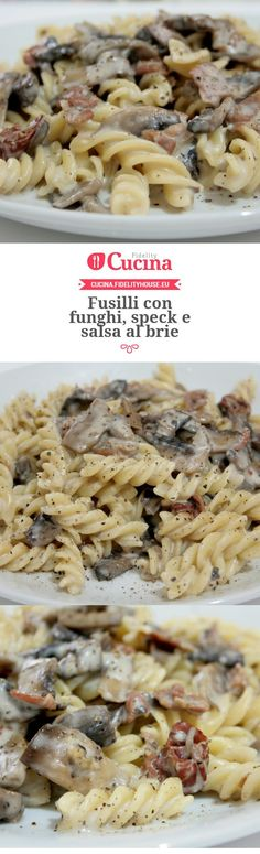 Fusilli con funghi, speck e salsa al brie Fusilli, Wine Recipes, Pasta Recipes, Cooking Recipes, I Love Food, Good Food, Yummy Food, Brie, Salty Foods