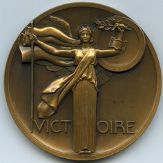 Victoire Medal, 1918. Bronze, 68mm. Struck by the Monnaie de Paris (Paris Mint). Pierre Turin, Sc. (1891-1968). Uncirculated, with a few minor spots and marks, accentuated only by the high-resolution scans. | eBay!
