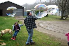 Giant Bubbles recipe. 6 cups water, 1 cup corn syrup, 2 cups regular strength Joy dish soap. Previous pinner said- They were industrial strength, un-poppable.