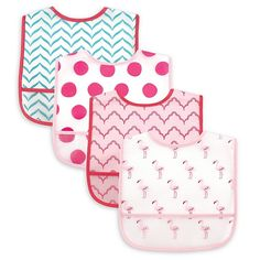Pink Trim Skier Baby Feed Bib with Easy Fastening When I Grow Up.