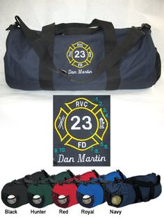 Large Round Fire Department Duffel Bag with Maltese Cross $24.95