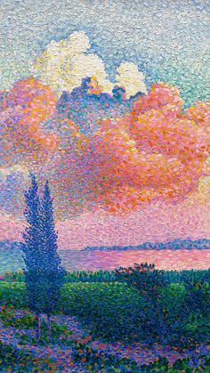 Download free image of Vintage art mobile wallpaper, iPhone background, The Pink Cloud by Henri-Edmond Cross by The Cleveland Museum of Art (Source) about sky, watercolor backgrounds, pink painting, public domain art, and public domain 3933128