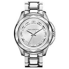 KARL LAGERFELD '7' Beveled Bezel Bracelet Watch, 44mm