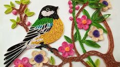 Quilling Wall Decorations | A Beautiful 🐦Bird Eating Fruits From Tree | ...