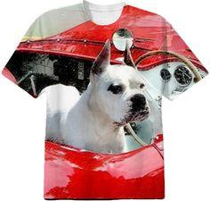 White Boxer Dog in red sportscar t-shirt  #white #boxer #dog #gifts #shirt #tees