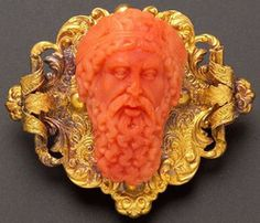 Antique Coral Cameo Brooch Depicting Zeus, Mounted In 18k Gold Scrolling Foliate Frame, With Fitted Geneva Jeweler's Box    c.1806-1906