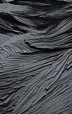 Tara Donovan | Transplanted (detail), 2001 | ripped & stacked tar paper