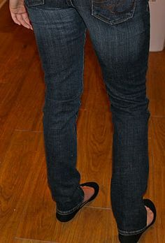 Make your own skinny jeans from baggy jeans.