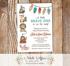 Brave One Tribal Woodland Fox Bear Baby Shower Invitation wood background - Wild little one Indian Baby shower invite - no color changes by NotableAffairs Baby Shower Printables, Baby Shower Invitations, Birthday Invitations, Invites, Wood Invitation, Invitation Design, Invitation Cards, Shower Party, Baby Shower Parties