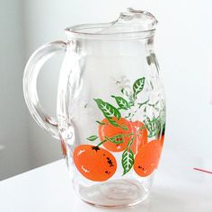 Clear Orange Juice Pitcher