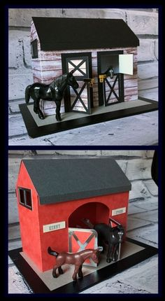 2 Horse Stables - cut only or print n cut options  by Tina Fallon 2 toy horse stables can be resized to suit but as supplied will suit horses up to 2-3 inches tall.Comes as a cut only option or as print n cut options (on Silhouette Studio)  with wood effect outer as shown in photo hay effect flooring inside and roof textures.One has a single wide arch and the other has two opening stable doors