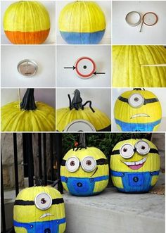 Easy way this holiday to make Minion Pumpkins!  These little guys from Despicable Me are so cute! #halloween #minion