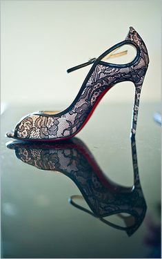 Black Lace Christian Louboutin Pumps ~ Photo: Adam Nyholt #Wedding #Shoes #Lace