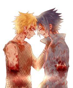 Battered and bloody Naruto and Sasuke sharing a moment...