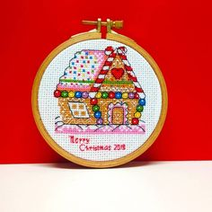 Items similar to Merry Christmas hoop art wall decor 4 inch finished embroidery Cross stitch gingerbread cozy house Xmas winter ornament Door hanging idea on Etsy Rustic Christmas, Merry Christmas, Xmas Ornaments, Winter Theme, Cozy House, Little Gifts, Cross Stitch Embroidery, My Etsy Shop, Wall Decor