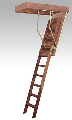 Escada embutida: saiba mais sobre esse elemento! (Foto:Divulgação) Roof Ladder, Attic Ladder, Attic Stairs, Library Ladder, Wooden Lanterns, Loft Room, Attic Rooms, Iron Decor, Tiny House On Wheels