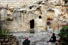 A natural cave in Garden Tomb where, according to one group of Christians, Jesus was buried and resurrected in Jerusalem http://journeyaroundtheglobe.com/through-asia/palestineisrael/jerusalem/