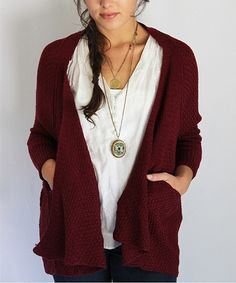 Look at this Wine Cocoon Open Cardigan on #zulily today!