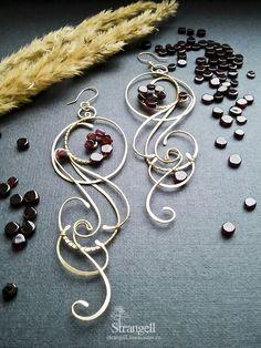 """Handmade earrings. Fair Masters - handmade earrings with garnet """"Vivaldi"""", brass. Handmade."""