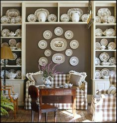 brown buffalo check & transfer ware, from Southern Accents via The Enchanted Home