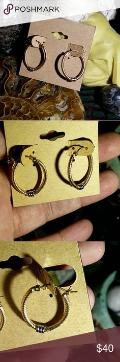 """24k Gold & Sterling Silver Earrings Handmade with love --- one of a kind earrings featuring hammered 24k gold twisted metal with sterling accents. Made using sterling silver & 24k gold metal.  About 1 inch long  Gold symbolizes the purity of the spiritual aspect of """"All That Is"""". It is symbolic of spirituality and development in the realm of complete understanding, allowing one to both attain and maintain communion with the source of all being.  Gold has been called """"the master healer"""". It…"""