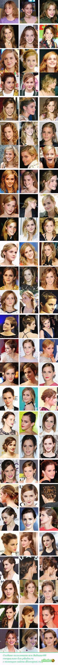 Как менялась причёска Эммы Уотсон Эмма Уотсон, причёска, знаменитости…
