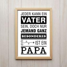 Nur Jemand Besonderes Ist Ein Papa Kunstdruck A4 Familie Vater Spruch Poster
