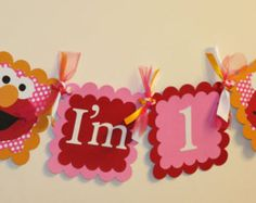 Girly Elmo Inspired Pink and Red I am 1 Highchair by AngiesDesignz