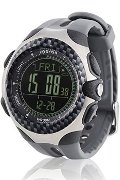 Spovan Sports Big Face Barometer Altimeter Compass Black PU Digital Watches ** Want to know more, click on the image. (Note:Amazon affiliate link)