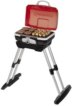 The #Cuisinart #CEG-180 is a portable gas grill for balconies and small patios. It folds up for easy carrying and storage. The burner generates 5500 BTU. The 145 sq. in. #grilling surface is large enough to cook most family meals - 8 steaks, 8 hamburgers, 6 - 10 chicken breasts, or over 4 lbs. of fish.