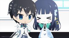 Mahouka Koukou No Rettousei Miyuki and Tatsuya Chibi Wallpaper.. They are soo cute.. XD