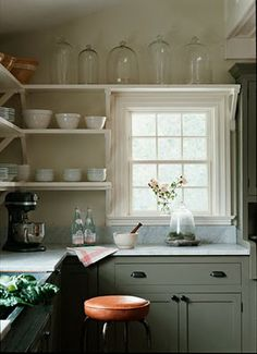 Helen Norman's farmhouse kitchen: love the open shelves, cabinet color, marble counters, matte black iron hardware