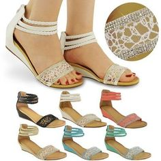 LADIES WOMENS SUMMER SANDALS LOW HEELS WEDGE ANKLE STRAPPY LACE DIAMANTE  SIZE Magassarkú c67b8ab575