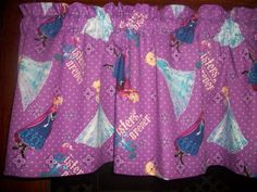 Disney Movie Frozen Sisters Forever Purple Polka Dot fabric curtain Valance  #Handmade