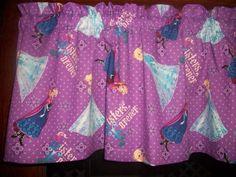 Disney Movie Frozen Sisters Forever Purple Polka Dot fabric curtain Valance  #Handmade