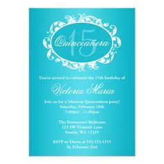 Teal Blue Elegant Swirl Quinceanera Birthday Party Card