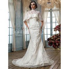 Good possibilities [USD $ 147.49] Trumpet/Mermaid Strapless Court Train Appliques Tulle Wedding Dress With Wrap