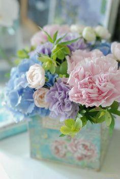 Carnation floral arrangement in spring colors