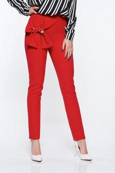 Pantaloni PrettyGirl rosii eleganti conici din material usor elastic cu talie inalta - PrettyGirl - www.iconly.ro