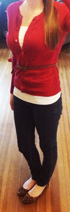 Red cardigan, embellished leopard flats from Target, braided belt