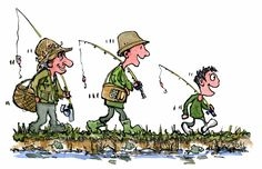 three generations go fishing Color illustration #family #nature #familytime #granddad #education #tradition