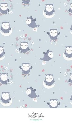 OwLove - cute textile pattern design for girls - night version with grey and violet color palette.